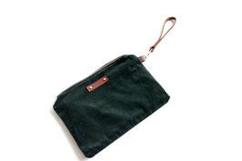 green velvet zipper pouch