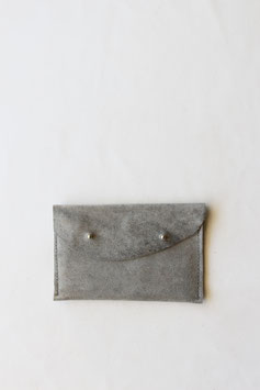 Raw edge wallet stone grey