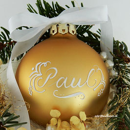 Weihnachtskugel mit Namen, Design Neo-Klassik, gold, matt