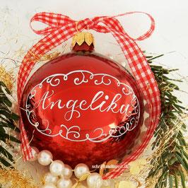 Weihnachtskugel mit Namen, Design Neo-Barock, rot, glänzend
