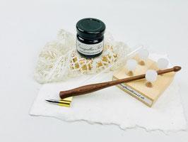 "Kalligraphieset mit Oblique Penholder ""Elegant"" Plywood Earth"