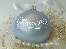 Weihnachtskugel mit Namen, Design Neo-Klassik, hellblau, matt