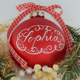 Weihnachtskugel mit Namen, Design Neo-Barock, rot, matt