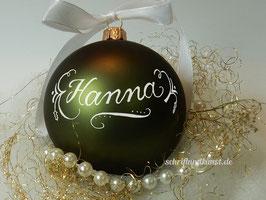 Weihnachtskugel mit Namen, Design Neo-Klassik, dunkelgrün, matt