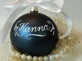 Weihnachtskugel mit Namen, Design Neo-Klassik, dunkelblau matt