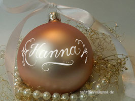 Weihnachtskugel mit Namen, Design Neo-Klassik, rosa, matt