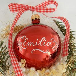 Weihnachtskugel mit Namen, Design Neo-Klassik, rot, glänzend