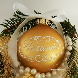 Weihnachtskugel mit Namen, Design Neo-Barock, gold, matt