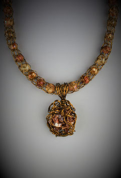 Vanadinite Pendant on a Beaded French Knit Necklace