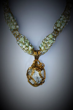Aquamarine Pendant on an Alternating Beaded French Knit Necklace