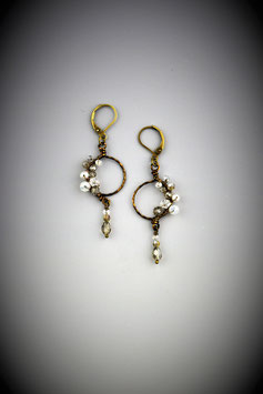 "Petite ""Shades of Clear Crystal"" Beaded Circle with Drop Earring"