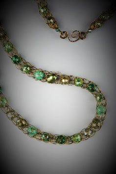 """""""Shades of Emerald"""" Beaded French Knit Rope Necklace"""