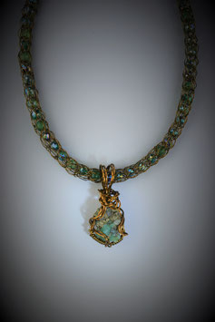 "Petite Columbian Emerald Pendant on a ""Shades of Emerald"" Beaded French Knit Necklace"