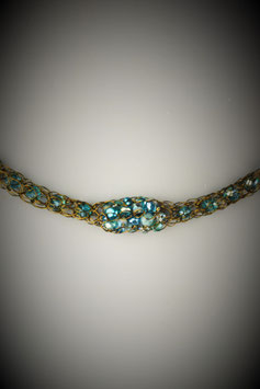 """Shades of Turquoise"" Beaded Single Cluster French Knit Style Short Rope Necklace"