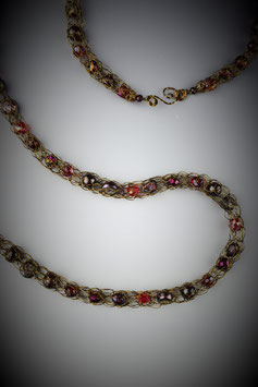 """""""Shades of Garnet"""" Beaded French Knit Rope"""