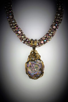 """""""Shades of Orchid"""" Beaded French Knit Necklace"""