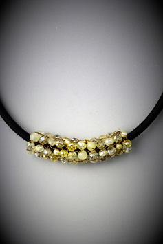 """""""Shades of Soft Yellow"""" Beaded Slide on a Silk Threaded Cord"""