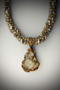 "Natural Smokey Quartz Gemstone Pendant on a coordinating ""Shades of Smokey Quartz"" Beaded French Knit Necklace"