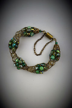 """Shades of Emerald"" Alternating Beaded French Knit Bracelet"