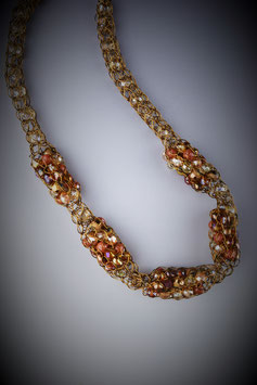 """Shades of Dusk"" Beaded Alternating Style French Knit Necklace"