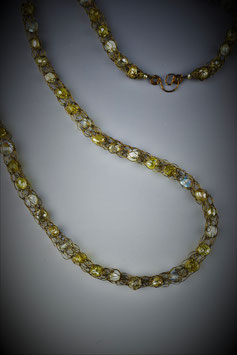 """""""Shades of Soft Yellow"""" Beaded French Knit Rope"""