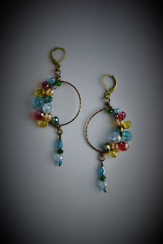 """Shades of the Rainbow"" Beaded Circle with Drop Earring"