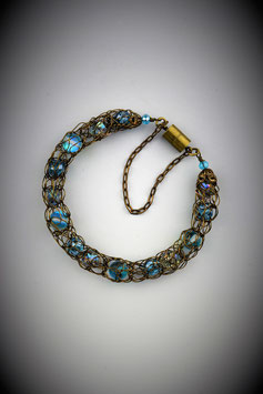 "Delicate ""Shades of Turquoise"" Beaded French Knit Bracelet."