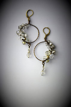 """Shades of Clear Crystal"" Beaded Circle with Drop Earring"