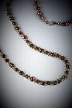 """""""Shades of Plum and Amethyst"""" Beaded French Knit Rope Necklace"""