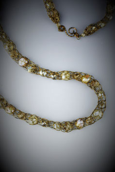 """""""Shades of Neutrals"""" Beaded French Knit Rope Necklace"""