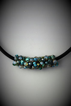 """Item Name""""Shades of Turquoise"""" Beaded French Knit Slide on a Silk Threaded Cord"""