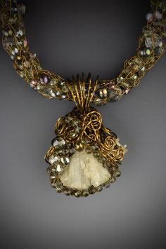 Crystal Bead Encrusted Zeolite Pendant on a Beaded French Knit Necklace