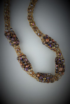"""Shades of Deep Amethyst"" Beaded Alternating Style French Knit Necklace"