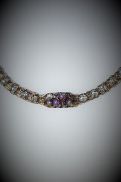 """Shades of Amethyst"" Beaded Single Cluster French Knit Style Short Rope Necklace"