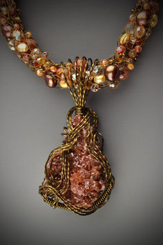 Vanadinite Crystal Cluster Gemstone Pendant on a Beaded French Knit Necklace