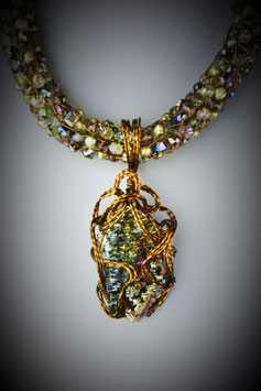"""Shades of Pastel ""Bismuth Pendant on A Beaded French Knit Necklace"