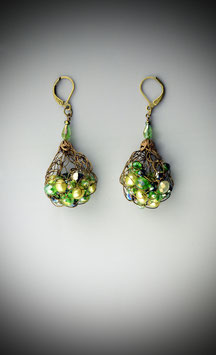 """Shades of Peridot"" Beaded French Knit Teardrop Earrings"