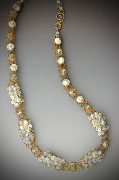 "Item name""Shades of White"" Beaded Alternating French Knit Style Short Rope Necklace"