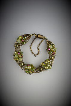 """Shades of Peridot with Pink Accents"" Alternating Beaded French Knit Bracelet"