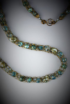 """""""Shades of Turquoise"""" Beaded French Knit Rope Necklace"""