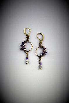 "Petite ""Shades of Amethyst"" Beaded Circle with Drop Earring"