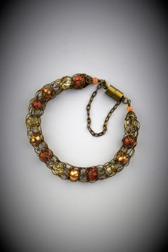 "Delicate ""Shades of Autumn"" Beaded French Knit Bracelet."