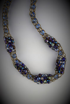 "Item name""Shades of Blue Sapphire"" Beaded Alternating French Knit Style Short Rope Necklace"