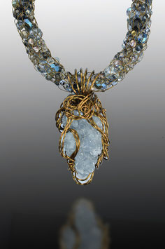 "Natural Celestite Crystal Cluster Pendant on a ""Shades of Celestite"" Beaded French Knit Necklace"
