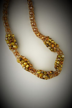 """Shades of Amber"" Beaded Alternating French Knit Style Short Rope Necklace"