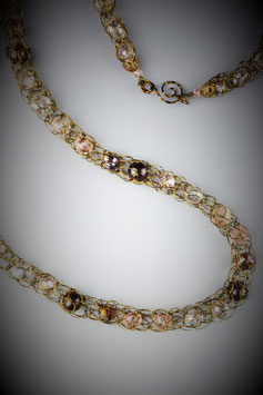 """""""Shades of Soft Pink with Garnets"""" Beaded French Knit Rope"""