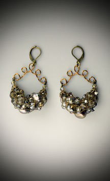 """Shades of Light Smokey Quartz"" Beaded French Knit Earrings"