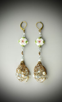 "White Cloissonne with ""Shades of White"" beaded French Knit Drop Earrings."