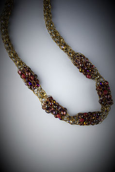 "Item name""Shades of  Garnet"" Beaded Alternating French Knit Style Short Rope Necklace"