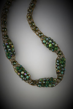 """Shades of Emerald"" Beaded Alternating French Knit Style Short Rope Necklace"